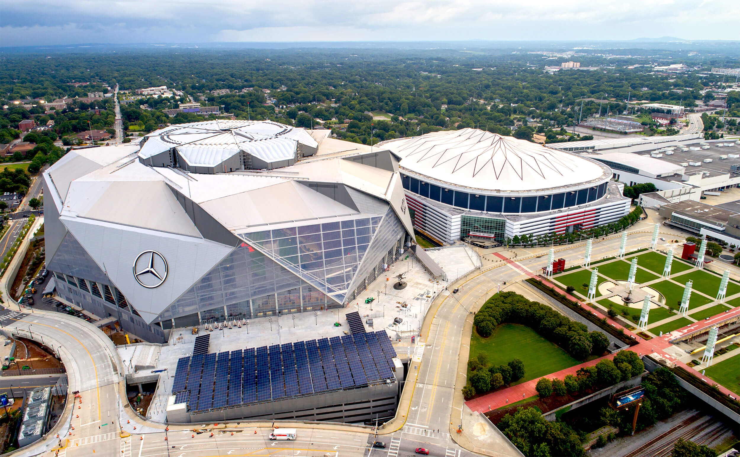 aerial view of mercedes benz showing solar canopy